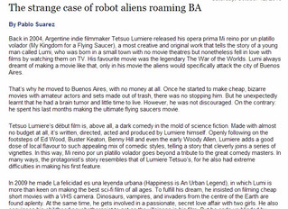 Buenos Aires Herald: THE STRANGE CASE OF ROBOT ALIENS ROAMING BUENOS AIRES