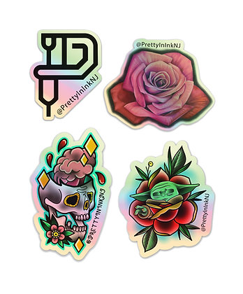 4 Pack of Holographic Stickers