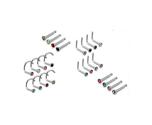 20G Surgical Steel Nose Rings- 3 Different Styles-Straight Bar, LShape, Curved