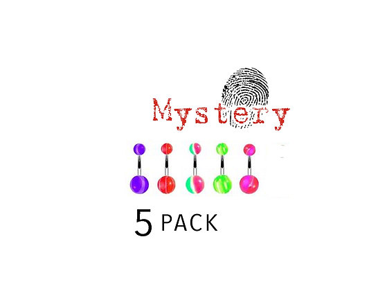 5 PACK - Acrylic Belly Rings Mixed Package