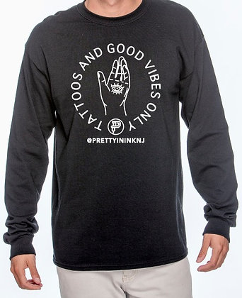Unisex Good Vibes Long SleeveShirt - Black