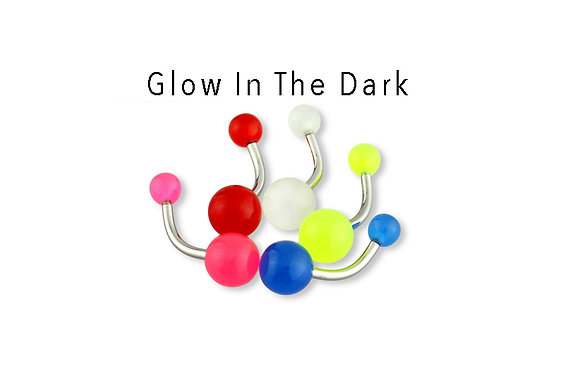5 PACK - Color Glow in the Dark Acrylic Ball Belly Ring Package