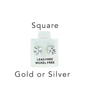 1 Set of Square Silver or Gold Surgical Steel Nickel/Lead FREE Earrings
