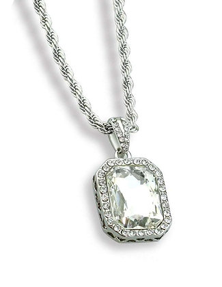Clear Gem Stone Alloy Pendant with Stainless Steel Chain Necklace