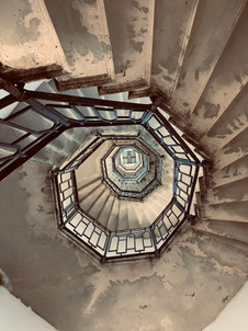 The stairs of an old Italian church.