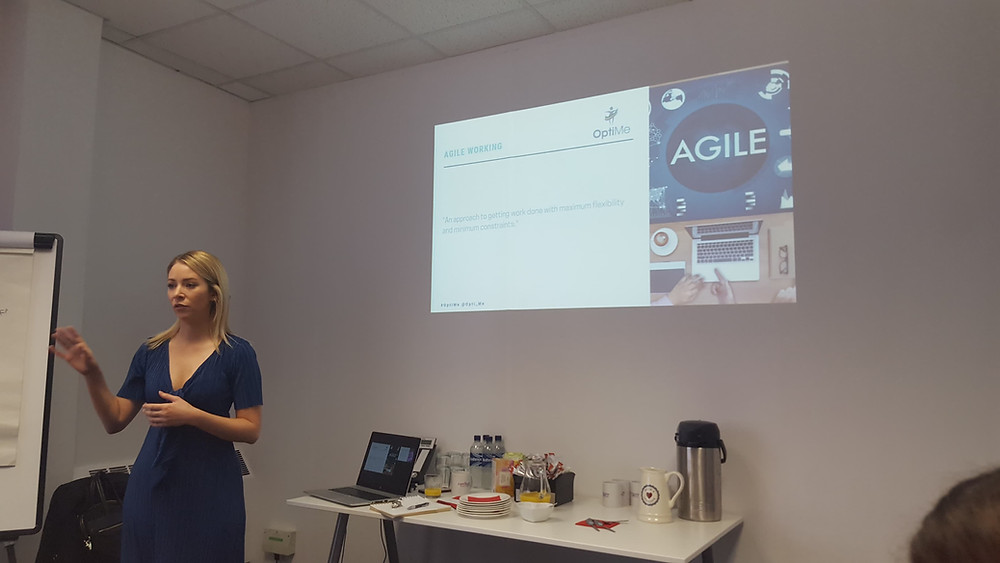 Bethany is presenting a powerpoint on agile