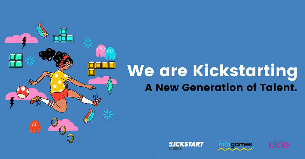 Banner image of pixel and cartoon game icons with a girl jumping. Text says We are kickstarting a new generation of talent