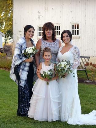 Bride, Bridesmaid, MOB & Flowergirl