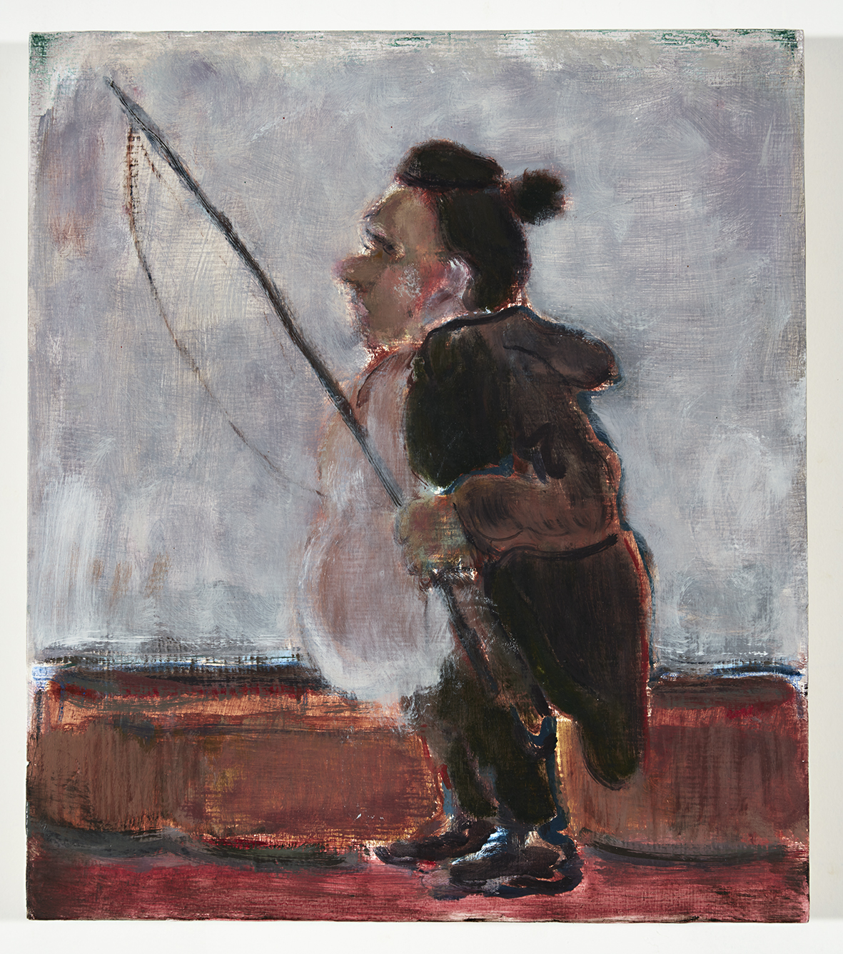 16 Fat Fisher, oil on board, 40.5cm  x 35cm , 2016