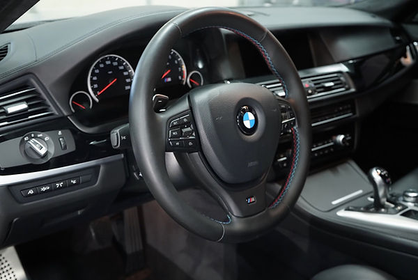 Interior detaling of a BMW.