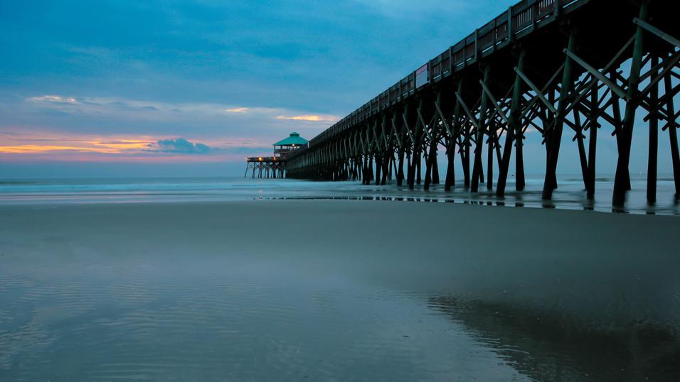 Sunrise Pier drone photography
