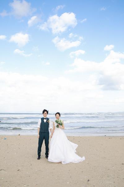 ぶどうの樹ウェディング  岡垣町の海にて 前撮り撮影