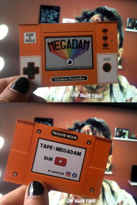 Carte de visite pour la chaîne YouTube de Megadam