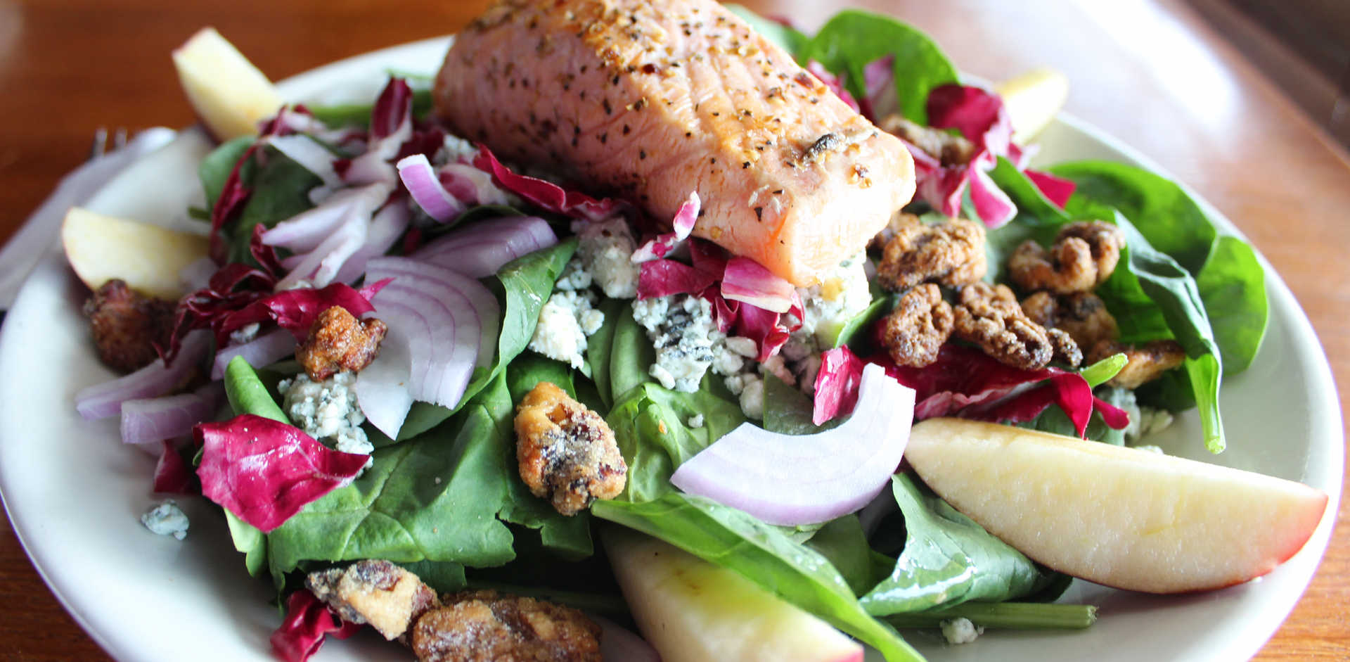 Grilled Atlantic Salmon Salad | Real Time Sports Bar and Grill