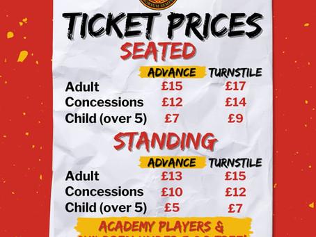 2021/22 Ticket Prices