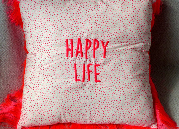 Coussin brodé happy life fluo