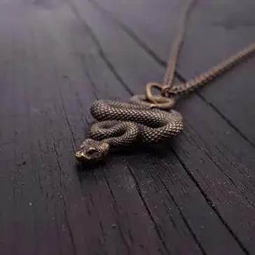 Moon Raven Designs - Viper Snake Pendant - Bronze