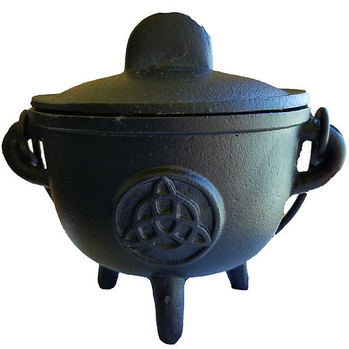 Cast Iron Cauldron with Lid, Triquetra
