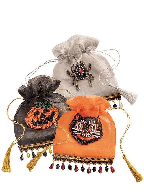 Halloween Beaded Drawstring Bag