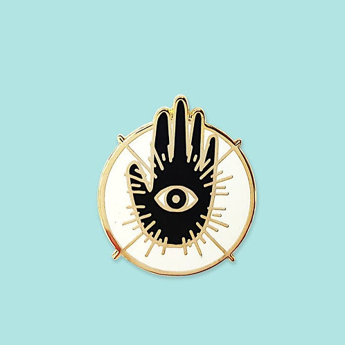 Hand and Eye Pin, Gold by Holly Oddly