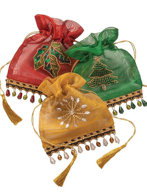 Christmas Beaded Drawstring Pouch