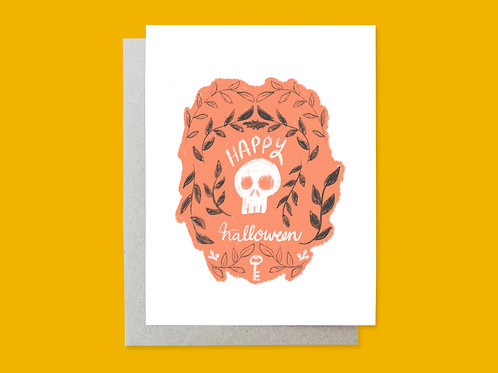 Halloween Skull Hand-lettered Greeting Card by Holly Oddly