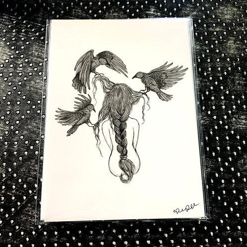 Braid With Crows (5x7 print)