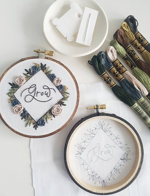 """GROW"" FULL EMBROIDERY KIT"