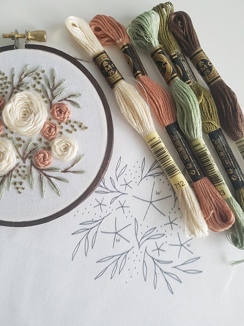 summer florals // beginner embroidery kit