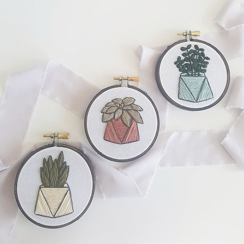 MINI succulent embroidery kit - 3 styles