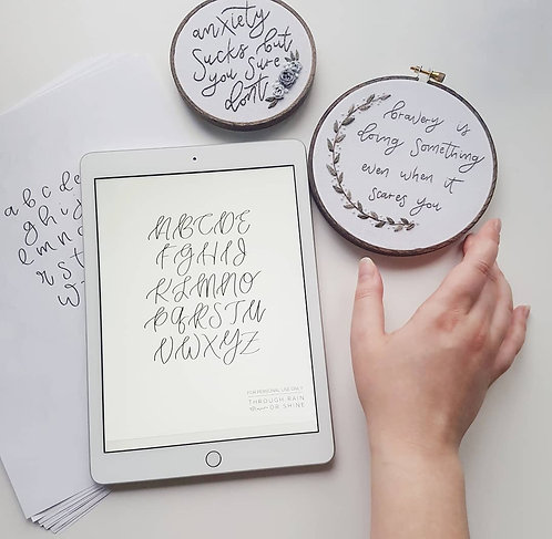 embroidery lettering sheets // 5 styles // 3 sizes // lettering templates