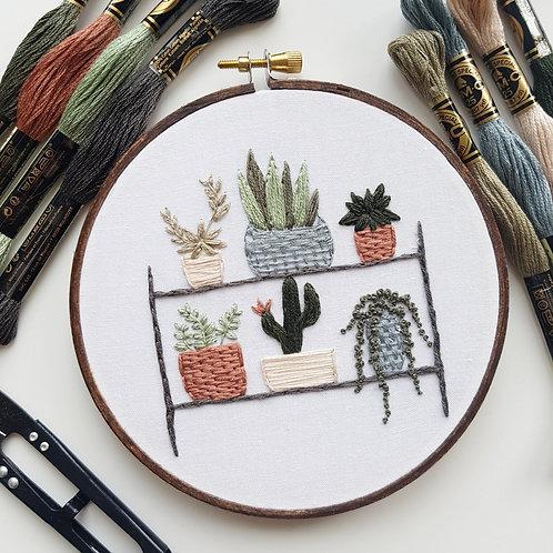 plant shelf // digital embroidery pattern // video instructions