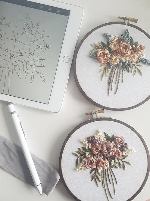 summer bouquet // digital embroidery pattern