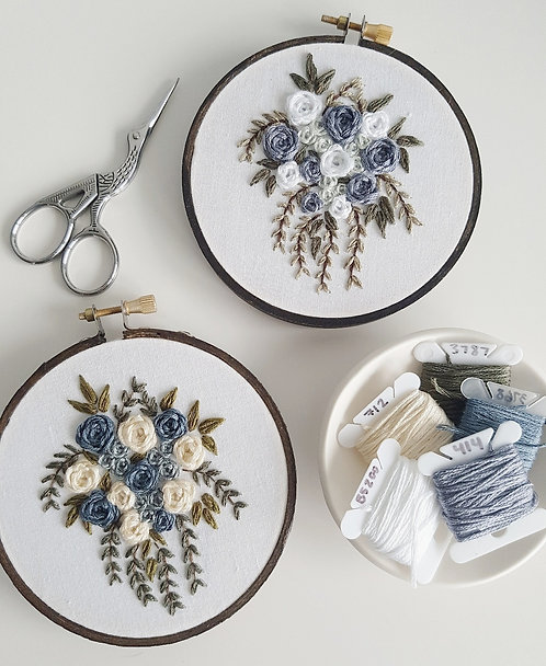 winter florals // digital embroidery pattern