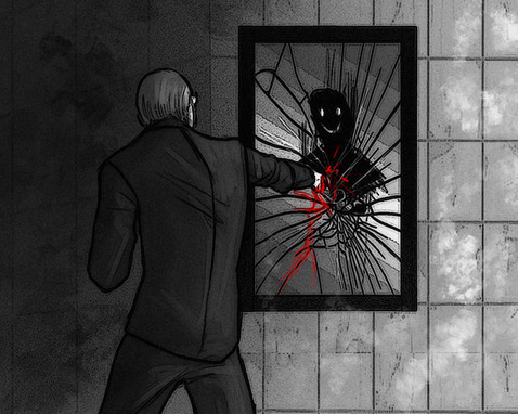 Он закричал и ударил зеркало еще раз