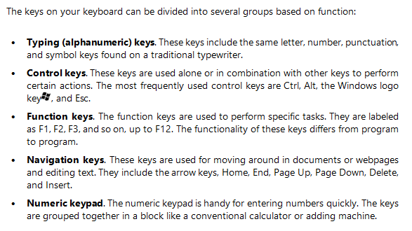 What Are the Five Categories of Keys on a Keyboard?