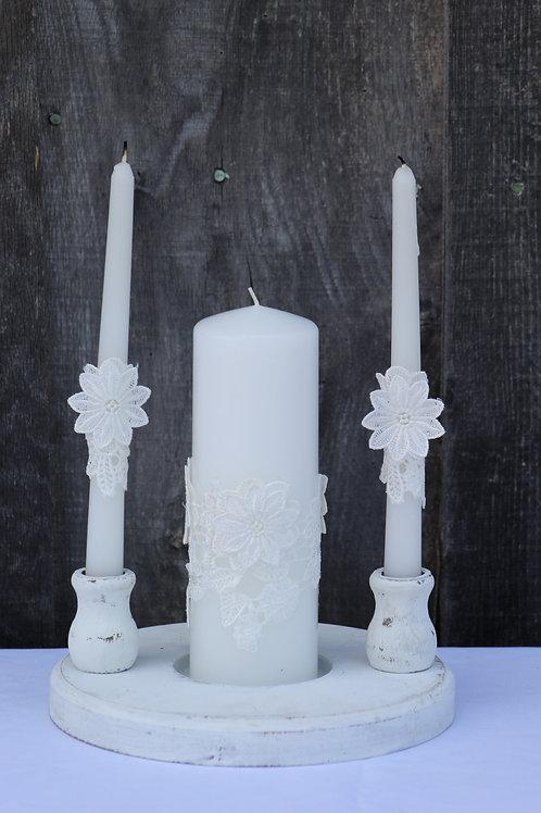 wood unity candle holder