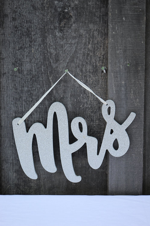silver Mr & Mrs chair hangers