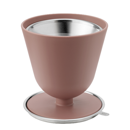Slow coffee brewer pink met rvs zeef