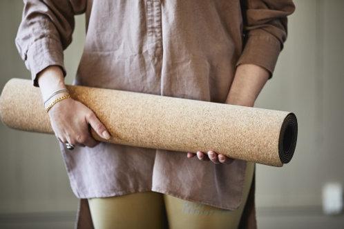 Plasticvrije yogamat kurk & rubber