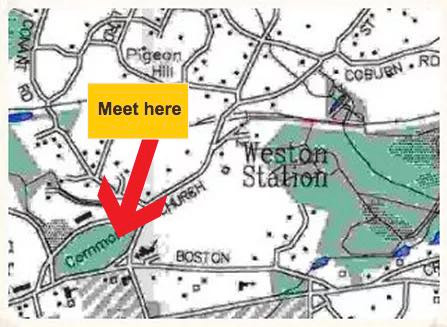Map of meeting location at eastern end of Town Green