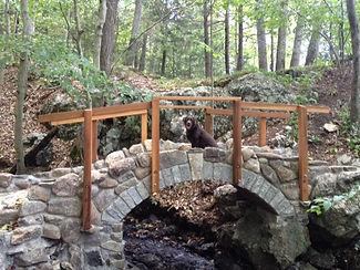 Lee's bridge with brown lab sitting atop it