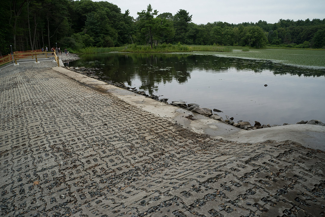 close-up of dam with interlocking concrete brick surface