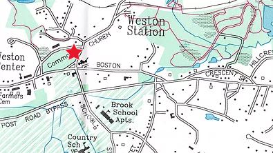 Map showing start location of walk at eastern end of Town Green
