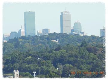 View of Boston's Back Bay skyscrapers from Doublet Hill
