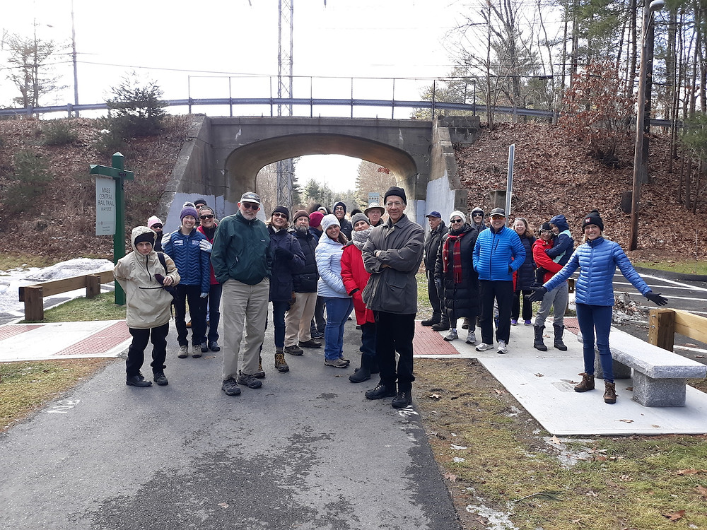 January 2020 walk group on rail trail in front of Concord Road overpass