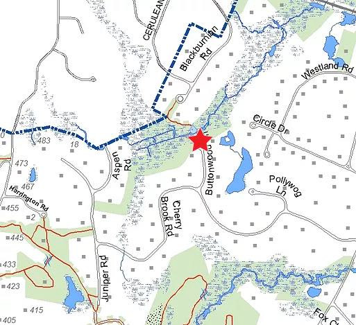 Map of parking location at end of Buttonwood Lane