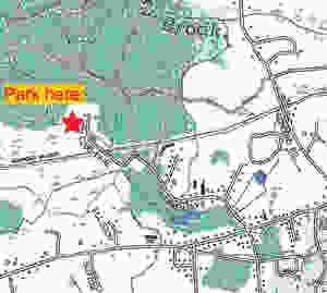 Map showing parking at end of Gun Club Lane