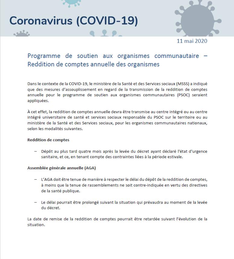 PSOC Organisme communautaire ACA Financement Reddition de compte CDC CDC des Maskoutains Organismes communautaires Vie démocratique