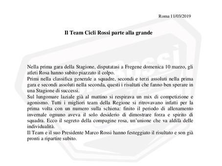 Il Team Cicli Rossi parte alla grande